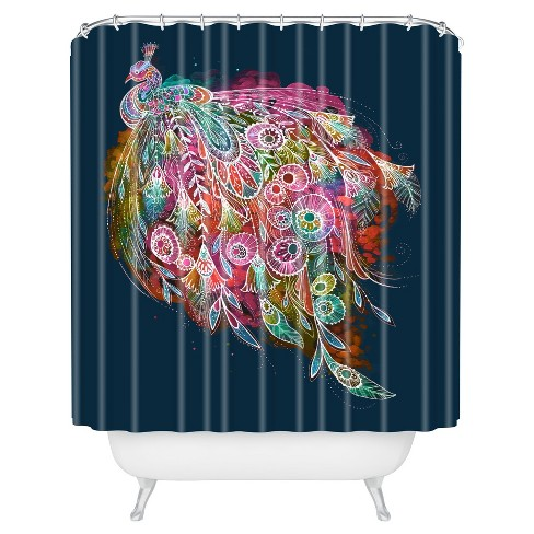 Stephanie Corfee Tail Feather Shower Curtain Navy