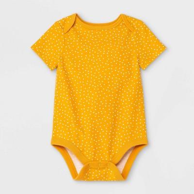 Baby Girls' Dot Short Sleeve Bodysuit - Cat & Jack™ Mustard 0-3M