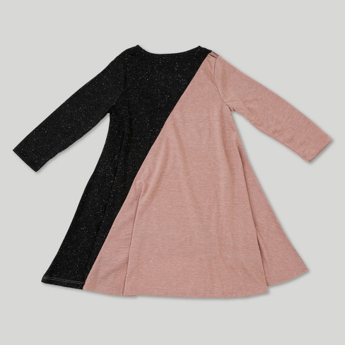 79d7c34c5 Toddler Girls' Afton Street Long Sleeve French Terry Asym A Line Dress -  Pink Heather : Target