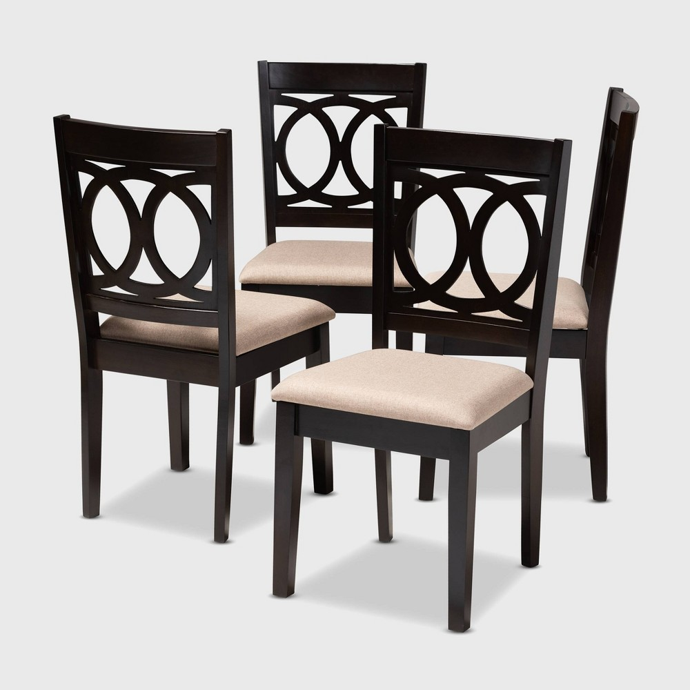 Set of 4 Lenoir Finished Wood Dining Chairs Brown - Baxton Studio