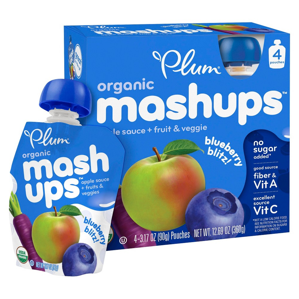 Plum Kids Organic Mashups Fruit & Veg Blueberry Blitz - 4ct 12.69oz