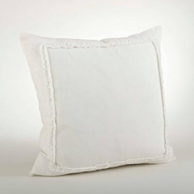 """20"""" Ruffled Design Pillow Ivory - Saro Lifestyle"""