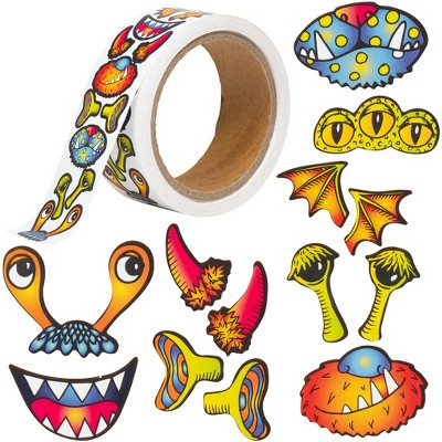 Ready 2 Learn Creative Sticker Roll - Monsters - 1,350 Self-Adhesive Stickers - 13 Monstery Facial Features for Crafts - Make Your Own Monster