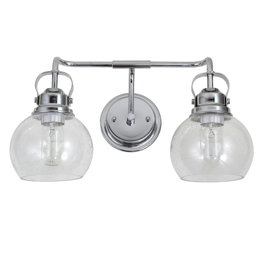 "Image of ""17.5"""" 2 Light Shirley Metal/Bubbled Glass Vanity Wall Light Chrome - JONATHAN Y"""