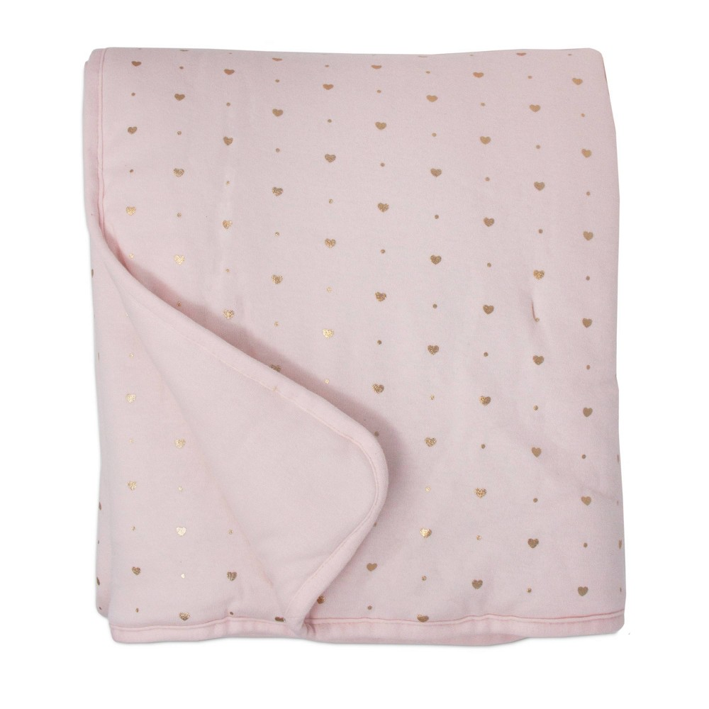 Living Textiles Baby Quilted Comforter Metallic Hearts Solid Pink