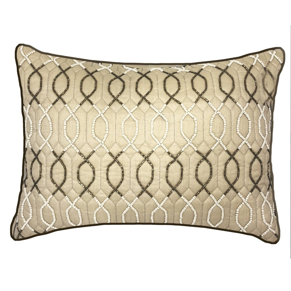 """Image of """"14""""""""x20"""""""" Celebrations Lattice Beaded Lumbar Pillow Oyster - Edie@Home, White"""""""