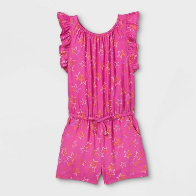 Toddler Girls' Stars Ruffle Sleeve Romper - Cat & Jack™ Pink