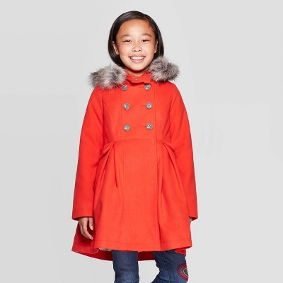 Girls' Faux Fur Hood Jacket - Cat & Jack™ Red XL