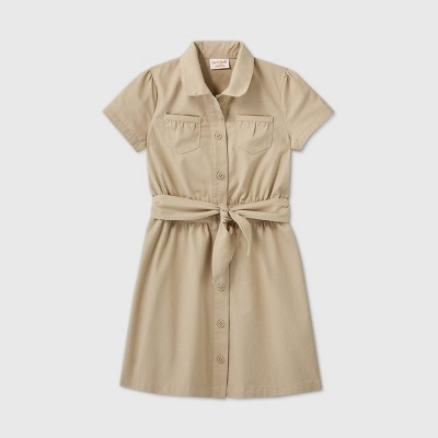 Girls' Short Sleeve Uniform Safari Dress - Cat & Jack™ Khaki