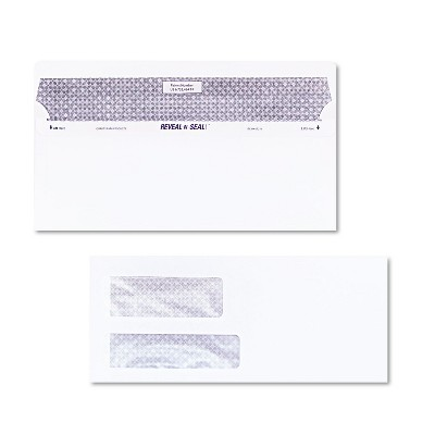 Quality Park Reveal N Seal Double Window Invoice Envelope Self Adhesive White 500/Box 67529