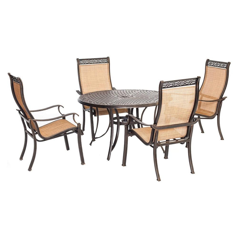 Hanover Manor 5-Piece Outdoor Dining Set, Lt Tan