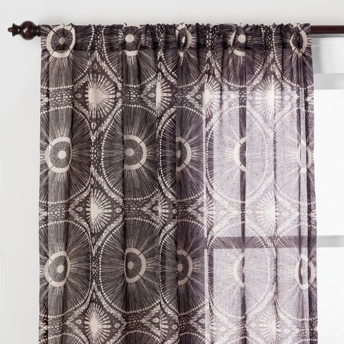 Medallion Sheer Curtain Panel Black - Opalhouse™ - image 1 of 5