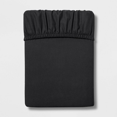Queen 300 Thread Count Ultra Soft Fitted Sheet Black - Threshold™
