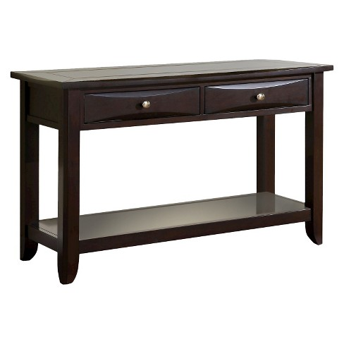 Langen Modern 2 Drawer Sofa Table Espresso Sun Pine