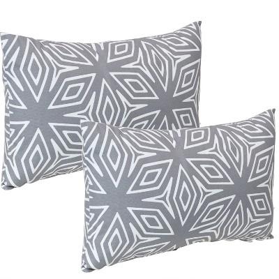 """12"""" x 20"""" Lumbar Decorative Outdoor Pillow - Set of 2 - Gray Geometric- Sunnydaze Decor"""