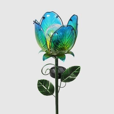 """71"""" Resin Solar Flower Garden Stake Blue - Exhart"""