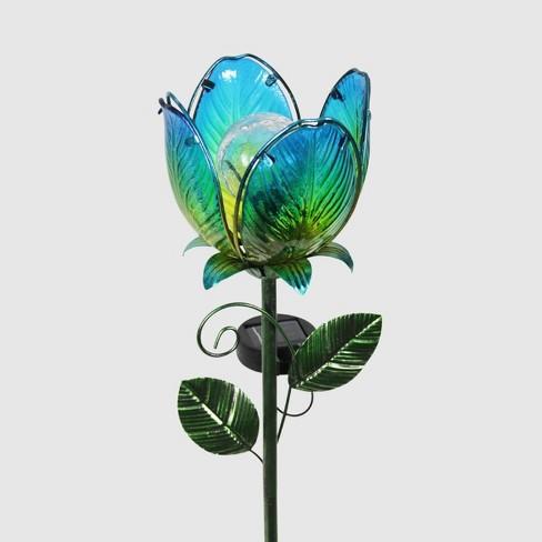 """71"""" Resin Solar Flower Garden Stake Blue - Exhart - image 1 of 2"""