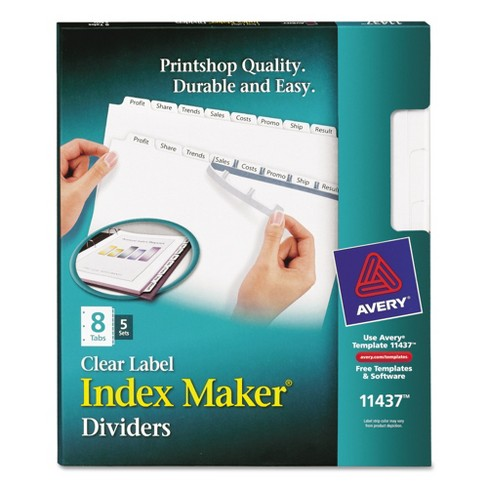Avery® Index Maker Label Dividers with 8 Tab-Letter - (5 Per Set) - image 1 of 4
