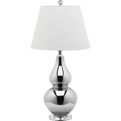 "26"" Cybil Double Gourd Lamp Silver (Includes CFL Light Bulb) - Safavieh"