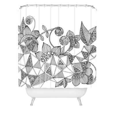 Valentina Ramos Triangle Flowers Shower Curtain Black - Deny Designs