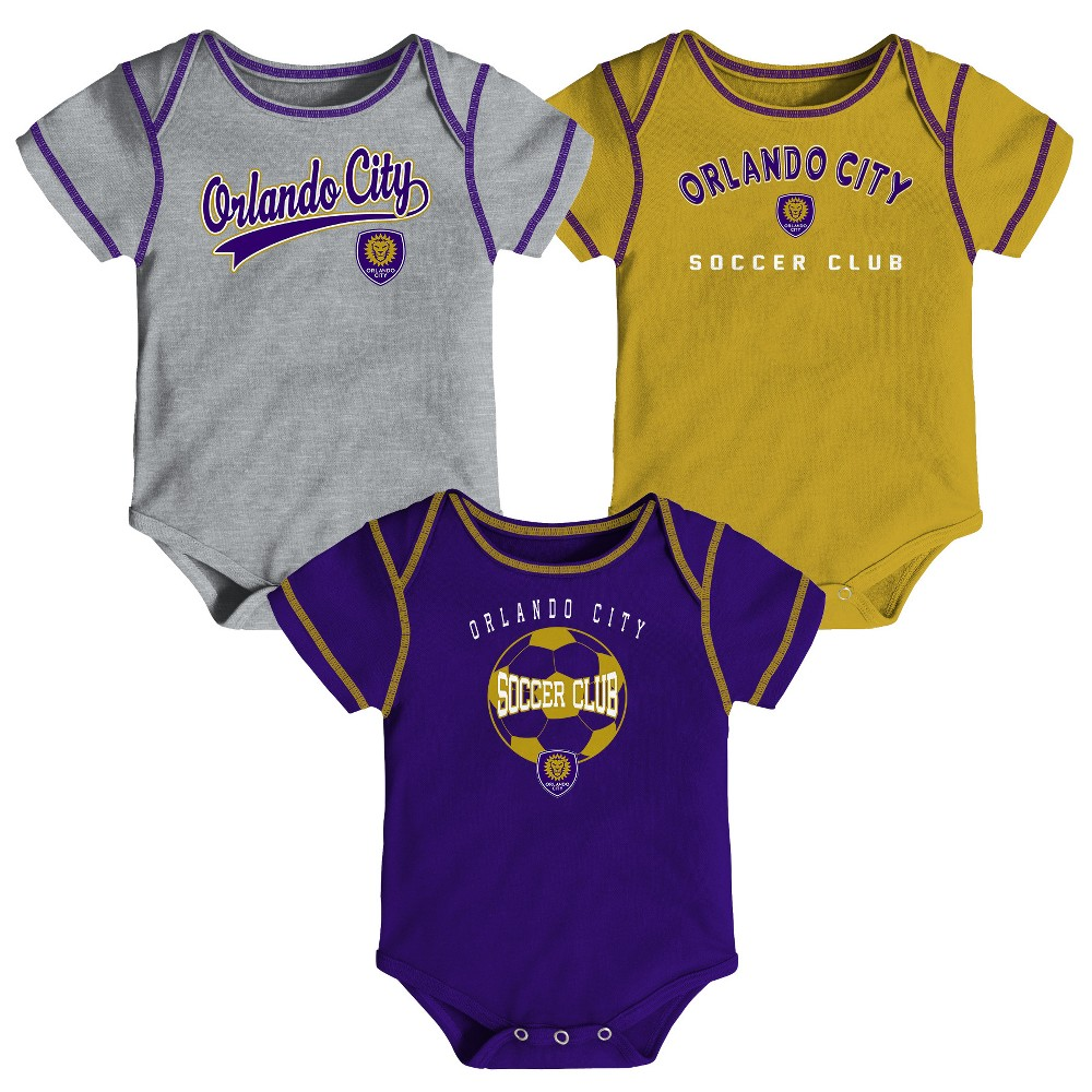 Mls Baby 3pk Onesies Orlando City SC - 3-6M, Infant Boy's, Multicolored