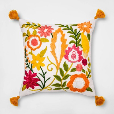 Square Embroidered Floral Pillow With Tassels Yellow - Opalhouse™
