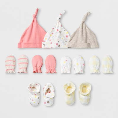 Baby Girls' Homespun 9pc Hat, Bootie and Mittens Bundle - Cloud Island™ Coral 0-6M