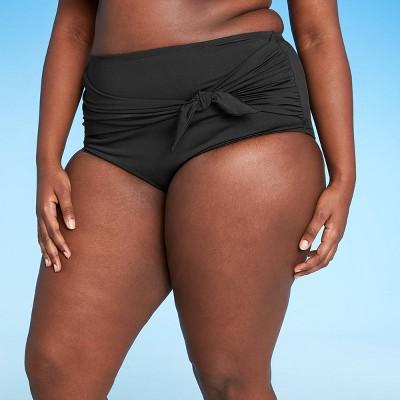 Women's Plus Size Sash-Tie High Waist High Cover Bikini Bottom - Kona Sol™ Black