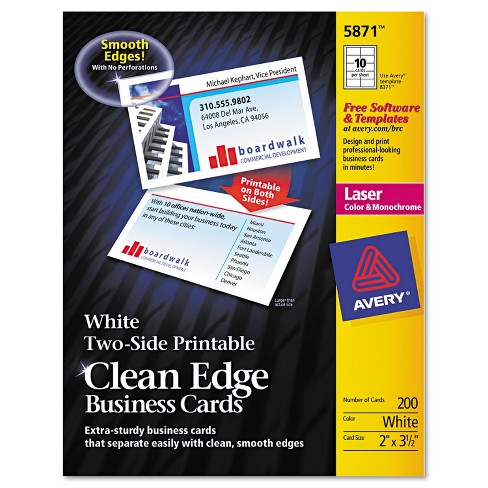 Avery Clean Edge Business Cards Laser 2 x 3 1/2 White 1000/Box 5874 - image 1 of 4