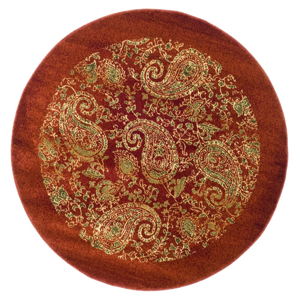 Floral Loomed Round Area Rug 8' - Safavieh, Red