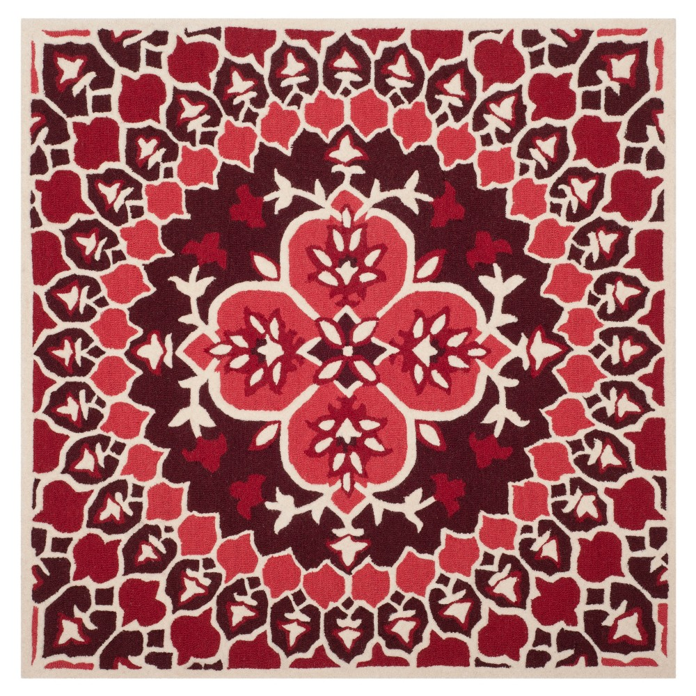 Red/Ivory Medallion Tufted Square Area Rug 5'X5' - Safavieh, Red Nivory