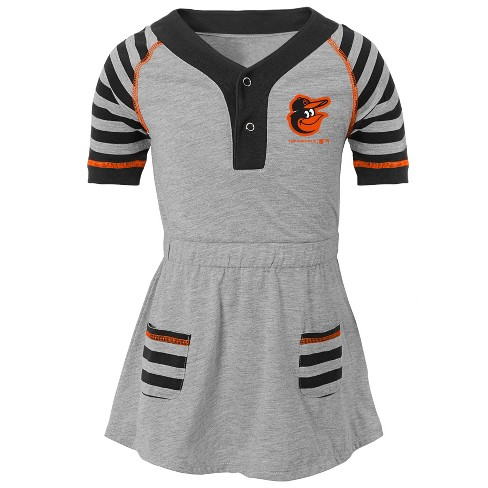 d527718ab Baltimore Orioles Girls  Striped Gray Infant Toddler Dress - 18M ...