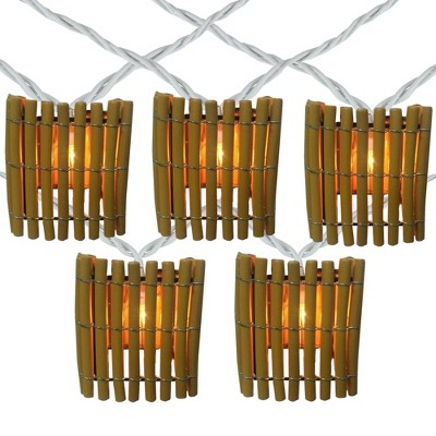 Northlight 10-Count Brown Tropical Bamboo Outdoor Patio String Light Set, 7.25ft White Wire