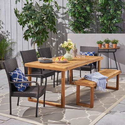 Nestor 6pc Wood & Wicker Chair & Bench Dining Set - Christopher Knight Home