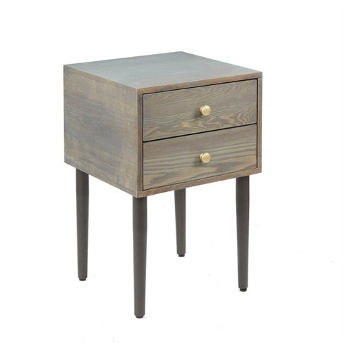 Hepburn Mid Century Modern Side Table With Metal Legs And Drawers