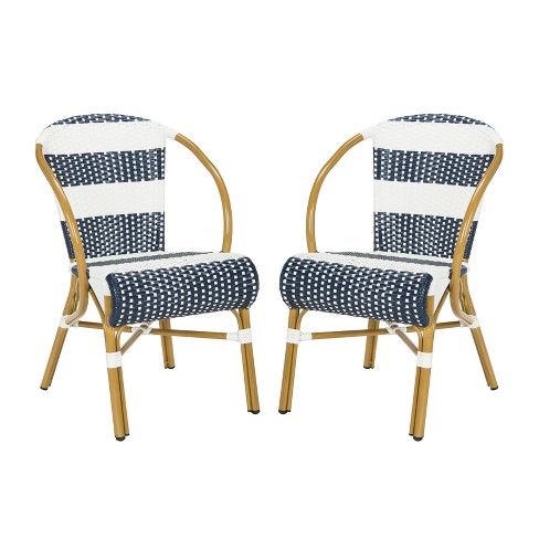 Sarita 2pk All-Weather Wicker Patio Stackable Side Chair - Navy/White - Safavieh - image 1 of 6