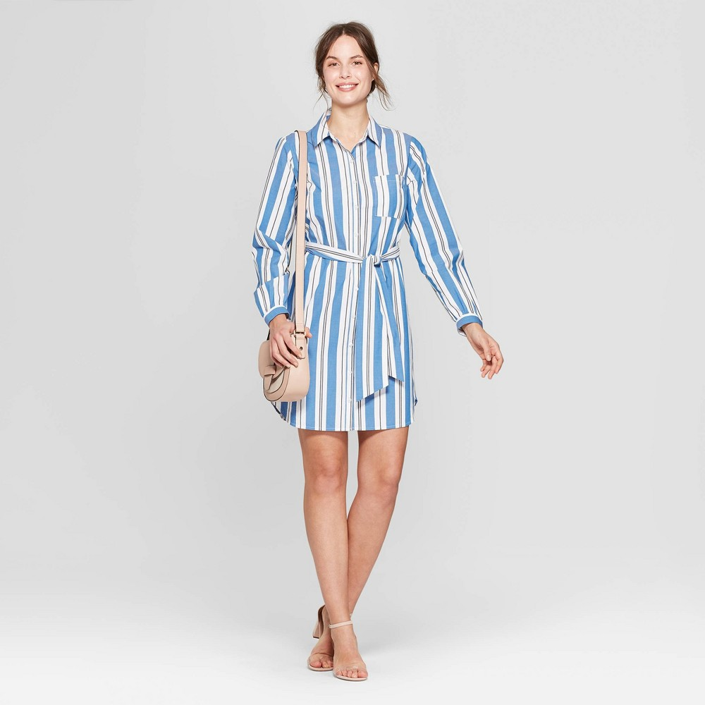 Women's Striped Long Sleeve Menswear Shirtdress - A New Day White/Blue S