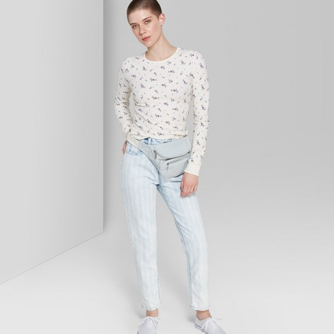99fd8d85d2b7 Women s Striped High-Rise Bleached Railroad Mom Jeans - Wild Fable™ Blue