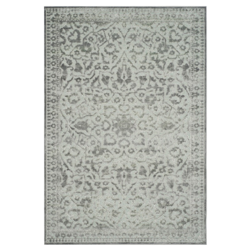 Light Gray Abstract Loomed Area Rug - (5'3