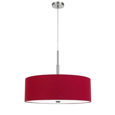 "24"" Lonoke Pendant Fixture with Hardback Linen Drum with Shade Red - Cal Lighting"