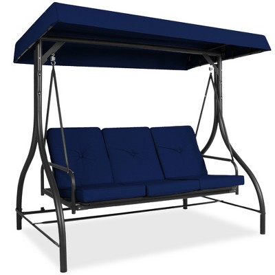 Best Choice Products 3-Seat Outdoor Converting Canopy Swing Glider Patio Hammock w/ Removable Cushions
