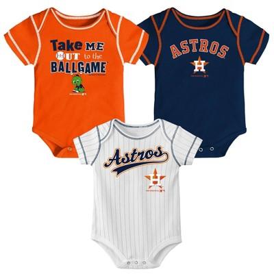 Houston Astros Boys' 3pk Bodysuit Set - 12M