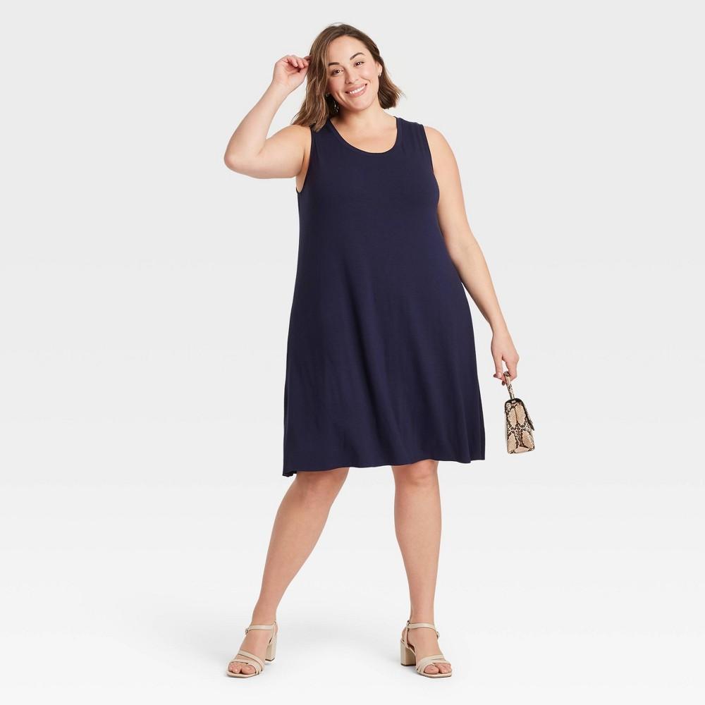 Women 39 S Plus Size Sleeveless Knit Swing Dress Ava 38 Viv 8482 Navy X