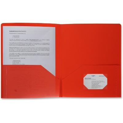 Business Source Poly Portfolio 2 Pocket LTR .3mil Red 20881
