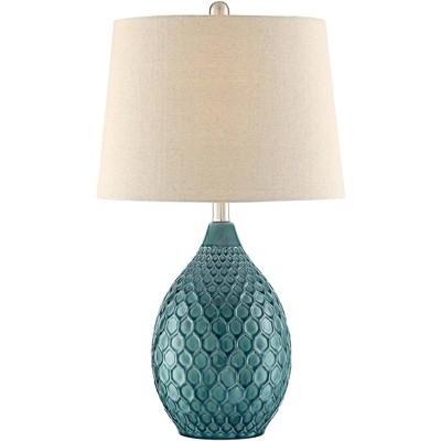 360 Lighting Modern Table Lamp Ceramic Green Oatmeal Drum Shade for Living Room Family Bedroom Bedside Nightstand Office