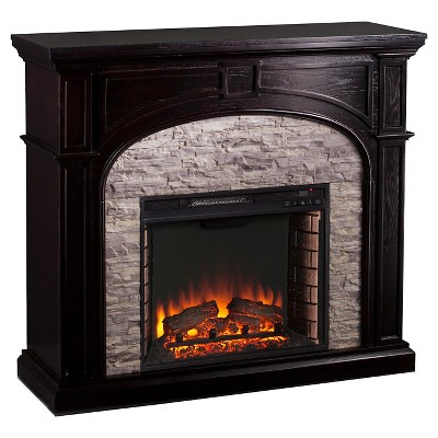 Southern Enterprises - Decorative Fireplace - Black with shades of Gray faux stone
