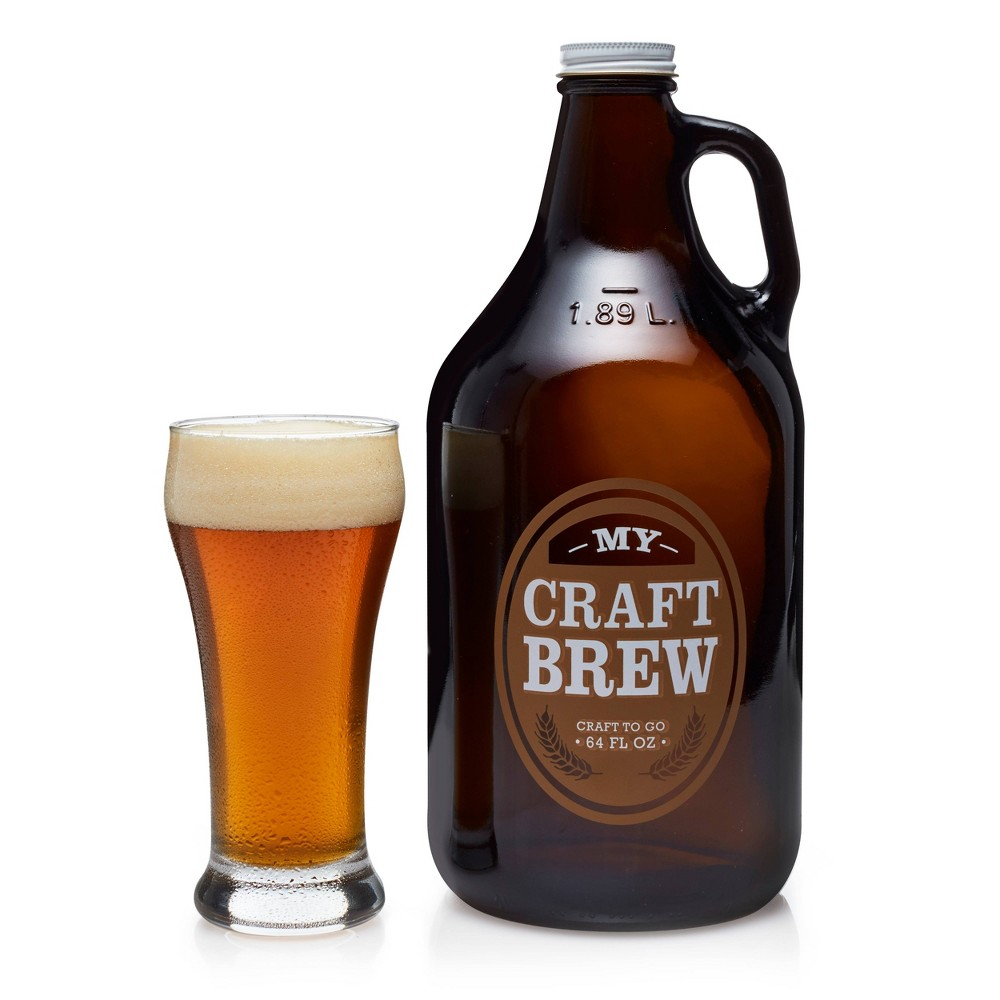 Image of Libbey Craft Brew Glasses 12oz with Glass Growler 64oz and Metal Cap - 5pc Set