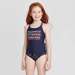 Girls' American Flag Tankini Swimsuit Set - Cat & Jack™ Navy