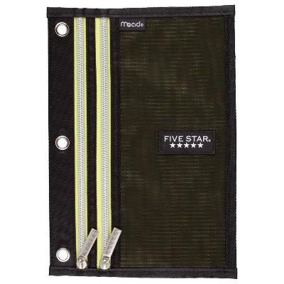 Five Star Dual Zipper Pencil Pouch - Black