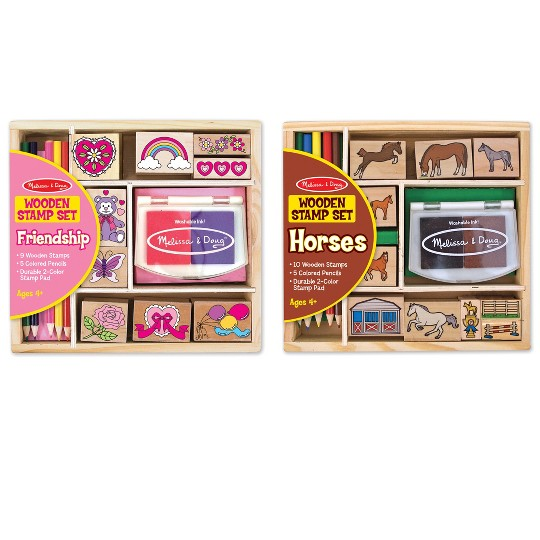Melissa & Doug Wooden Stamp Sets (2): Friendship and Horses image number null